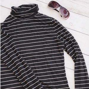 Striped Turtleneck Long Sleeve Shirt